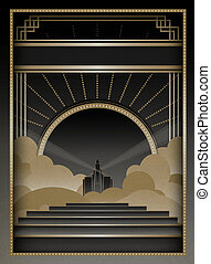 Art Deco Background and Frame - Art Deco inspired background...