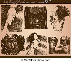people faces sketch drawings set - Cartoon Illustration of...