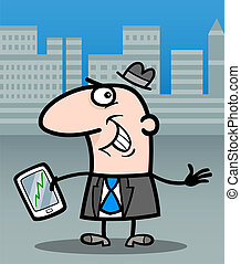 businessman with tablet pc cartoon illustration - Cartoon...