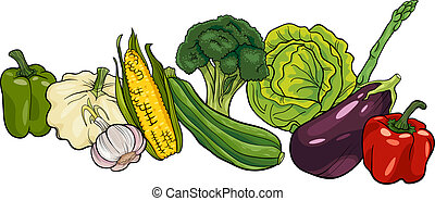 vegetables big group cartoon illustration - Cartoon...