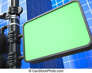 Blank Raodsign on Blue Background - Blank Green Raodsign on...