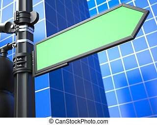 Blank Arrow Raodsign on Blue Background - Blank Green Arrow...
