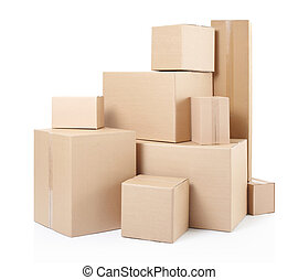 Cardboard boxes stack isolated on white, clipping path