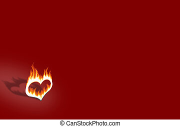 burning heart over the dark red background