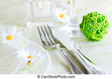 Table setting - Spring table setting with flowers and...