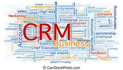 Cloud of business words centered in the CRM software...