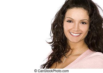 pretty brunette - sexy model wearing business wear on white...