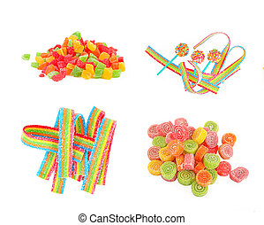 Mixed colorful fruit candies close up  on the white background