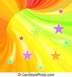 Multicolor stripes tunnel background with flying stars.