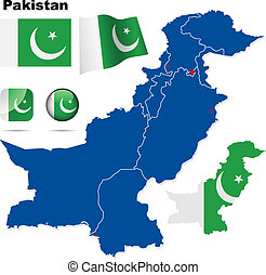Pakistan vector set Detailed country shape with region...