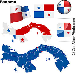 Panama vector set. Detailed country shape with region...