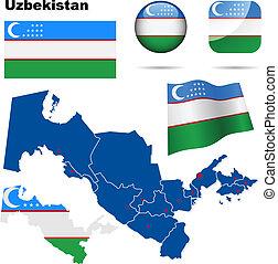 Uzbekistan vector set.
