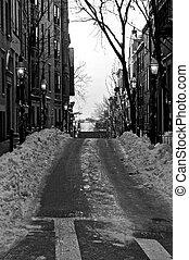 winter on beacon hill - old victorian street on beacon hill...