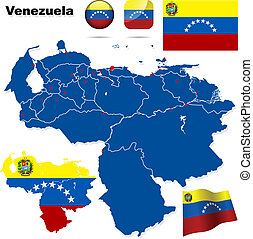 Venezuela vector set. Detailed country shape with region...