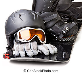 Snowboarding equipment - Snowboard with boot helmet gloves...