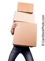 Man holding heavy card boxes, isolated on white