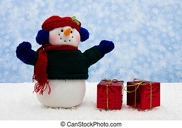 Merry Christmas - Snowman wearing scarf with red presents on...