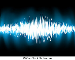 Sound waves oscillating on black background. EPS 8