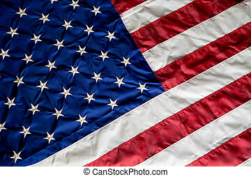 Crumpled, vintage American flag Real photo Closeup