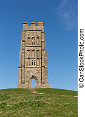 St Michaels Tower Glastonbury UK - Glastonbury Tor Somerset...