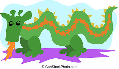 Green Dragon Vector - This cute Green Dragon loves to light...