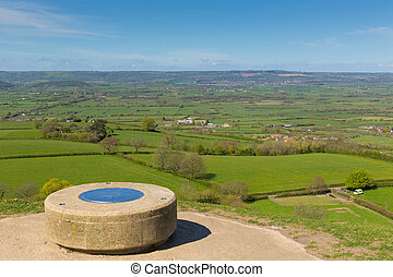 View from Glastonbury Tor Somerset - Glastonbury Tor...