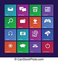 System icons || Set I - Metro-style system icons, custom...