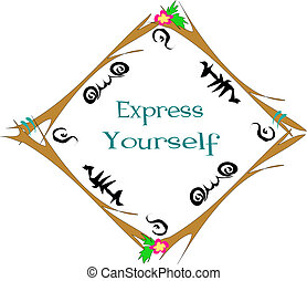 Frame with Express Yourself Vector - This wooden frame has...