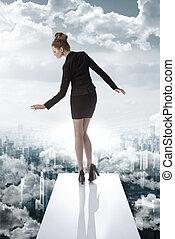 elegante, empresa / negocio, mujer, financiero, crisis