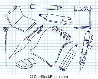 Set of office tools. Doodle vector illustration.