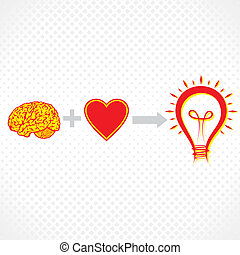 addition of brain and heart create new idea stock vector