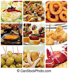 spanish tapas collage - a collage of nine pictures of...