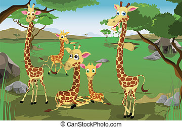 Family of Giraffes - A vector illustration of a family of...