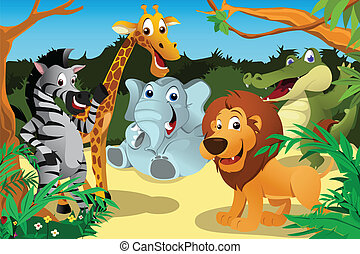 African animals in the jungle - A vector illustration of a...