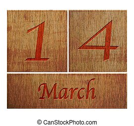 Wooden calendar March 14 - Illustration with a wooden...
