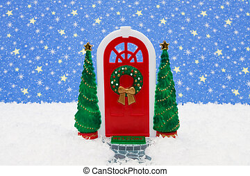 Merry Christmas - Red door with two green trees on star...