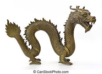 dragón, Escultura, aislado, blanco