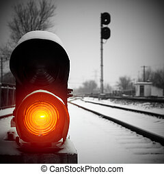 Railway signal lights