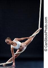 運動, ロープ, ポーズを取る,  aerialist