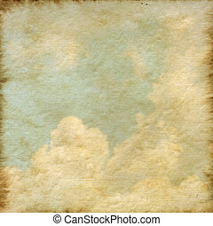 Old Mulberry paper texture background with a cloud and blue...