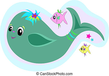Sweet Blue Whale Vector - Cute Blue Whale swims with fish...