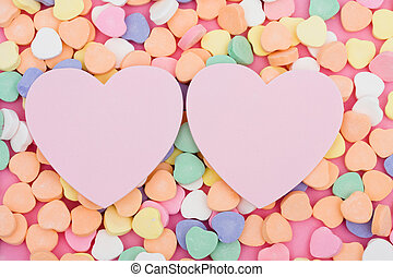 Sweetheart - Candy hearts with two blank paper heart