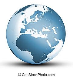 world globe - blue europe world globe with shadow isolated...