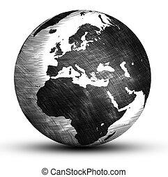 world globe - hand drawing europe world globe isolated on...