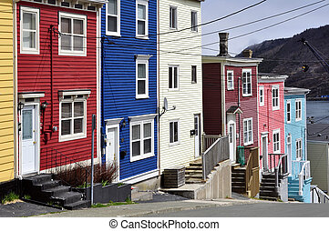 Saint Johns, Newfoundland - Row of colorful houses in the...