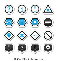 Computer system vector icons - warn - Attention warning...