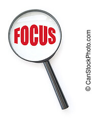 Magnifying glass with focus - Magnifying glass centred on...