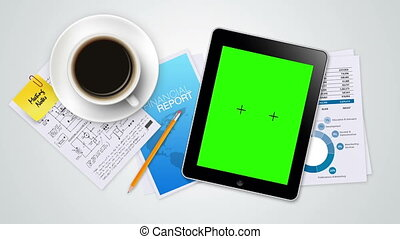Tablet with Green Screen Slide Show - A tablet in an office...