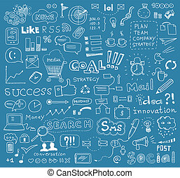 Brainstorming vector elements background - Hand drawn vector...