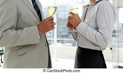 Business partners celebrating with